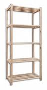 regál dřevěný laťkový 30 x 75 x 170 cm, 5 polic - přírodní