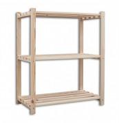 regál dřevěný laťkový 60 x 75 x 90 cm, 3 police - přírodní