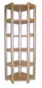 regál dřevěný masivní - rohový 60 x 60 x 204 cm, 6 polic
