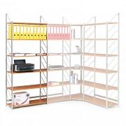 regál do kanceláře, základní regál, stříbrný, police třešeň, šířka 80 cm - Biedrax RK4171