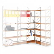 regál do kanceláře, rohový regál, stříbrný, police třešeň - Biedrax RK4199