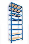 kovový regál Biedrax 45 x 90 x 270 cm - 8 polic x 275kg, modrý