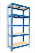 kovový regál Biedrax 45 x 90 x 180 cm - 5 polic x 175kg, modrý