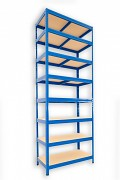 kovový regál Biedrax 45 x 90 x 240 cm - 8 polic x 175kg, modrý