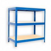 kovový regál Biedrax 60 x 120 x 120 cm - 3 police x 175kg, modrý