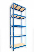 kovový regál Biedrax 35 x 90 x 240 cm - 5 polic x 275kg, modrý