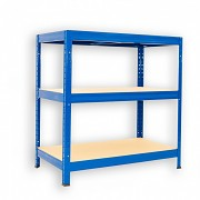 kovový regál Biedrax 35 x 90 x 90 cm - 3 police x 175kg, modrý