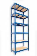 kovový regál Biedrax 35 x 75 x 240 cm - 6 polic x 275kg, modrý
