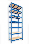 kovový regál Biedrax 35 x 75 x 240 cm - 7 polic x 275kg, modrý