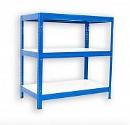 kovový regál Biedrax 60 x 90 x 90 cm - 3 police lamino x 175 kg, modrý