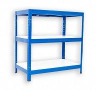 kovový regál Biedrax 35 x 90 x 90 cm - 3 police lamino x 275 kg, modrý