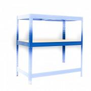 police k regálu kompletní - regál kovový, 35 x 90 cm - modrý, 175 kg na polici