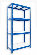 kovový regál Biedrax 35 x 75 x 180 cm - 4 police lamino x 275 kg, modrý