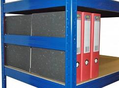 boční zábrana 35 cm modrá, pro kovový regál proti vypadnutí