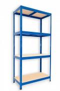 kovový regál Biedrax 45 x 75 x 180 cm - 4 police x 175kg, modrý