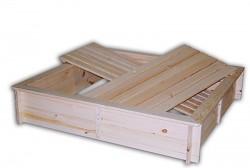 pískoviště dřevěné s lavičkami a krytem BIEDRAX 140 x 185 x 20 cm