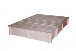pískoviště dřevěné s lavičkami, krytem a boxem na hračky BIEDRAX 140 x 185 x 30 cm
