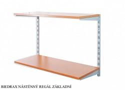 Nástěnný regál základní 20 x 60 x 50 cm, 2 police - barva stříbrná, police třešeň