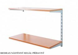 Nástěnný regál přídavný 25 x 60 x 50 cm, 2 police - barva stříbrná, police třešeň