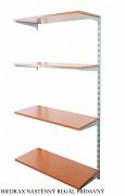 Nástěnný regál přídavný 30 x 40 x 150 cm, 4 police - barva stříbrná, police třešeň