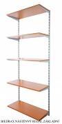 Nástěnný regál základní 50 x 40 x 200 cm, 5 polic - barva stříbrná, police třešeň