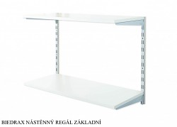 Nástěnný regál základní 40 x 80 x 50 cm, 2 police - barva stříbrná, police šedá