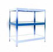 police k regálu kompletní - regál kovový, 35 x 120 cm - modrý, 120 kg na polici