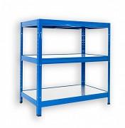 kovový regál Biedrax 35 x 75 x 90 cm - 3 police kovové x 120 kg, modrý