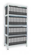 Regál na šanony Biedrax 35 x 90 x 180 cm - 5 polic x 175 kg, pozinkovaný, bílé police lamino