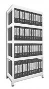 Regál na šanony Biedrax 45 x 60 x 180 cm - 5 polic kovových x 120 kg, bílý