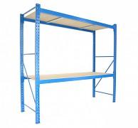 Profesionální Regál BIEDRAX základní 100 x 150 x 200 cm, 2 police - nosnost 350 kg/police, modrý