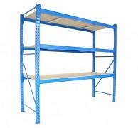Profesionální Regál BIEDRAX základní 80 x 180 x 250 cm, 3 police - nosnost 350 kg/police, modrý