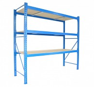 Profesionální Regál BIEDRAX základní 80 x 200 x 200 cm, 3 police - nosnost 350 kg/police, modrý