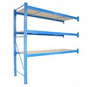 Profesionální Regál BIEDRAX přídavný 60 x 150 x 200 cm, 3 police - nosnost 350 kg/police, modrý