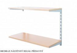 Nástěnný regál přídavný 20 x 40 x 50 cm, 2 police - barva stříbrná, police buk