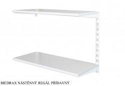 Nástěnný regál přídavný 20 x 40 x 50 cm, 2 police - barva bílá, police šedá