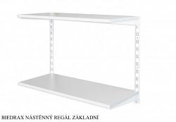 Nástěnný regál základní 25 x 60 x 50 cm, 2 police - barva bílá, police šedá