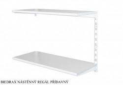 Nástěnný regál přídavný 40 x 40 x 50 cm, 2 police - barva bílá, police šedá