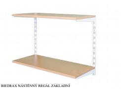 Nástěnný regál základní 20 x 40 x 50 cm, 2 police - barva bílá, police buk