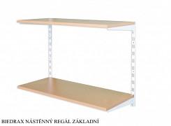 Nástěnný regál základní 25 x 40 x 50 cm, 2 police - barva bílá, police buk