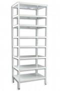 kovový regál Biedrax šroubovaný 30 x 100 x 250 cm, 8 polic - bílý