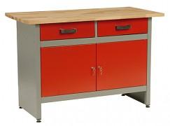 pracovní stůl do dílny, se zásuvkami - Biedrax PS5800CV - červený