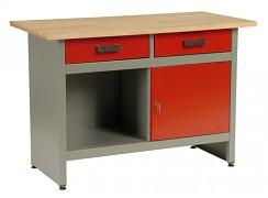 pracovní stůl do dílny, se zásuvkami - Biedrax PS5801CV - červený