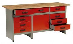 pracovní stůl do dílny, se zásuvkami - Biedrax PS5805CV - červený