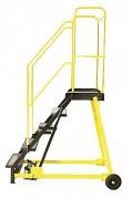 žebřík pojízdný plošinový schody plech s protiskluzovou páskou, 7 stupňů - ZP4607 Biedrax