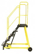žebřík pojízdný plošinový schody vodovzdorná překližka, 7 stupňů - ZP4606 Biedrax