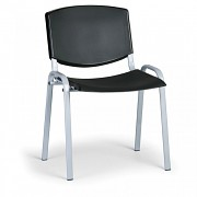 konferenčná plastová stolička, čierna Biedrax Z8988C, sivé nohy