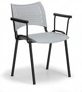 konferenčná plastová stolička, sivá Biedrax Z9123S, čierne nohy