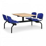 stoly do školní jídelny Biedrax JS3834B - modrá plastová sedadla, deska buk