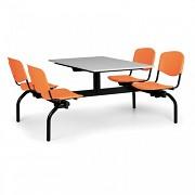 stoly do školní jídelny Biedrax JS3840S - oranžová plastová sedadla, deska šedá
